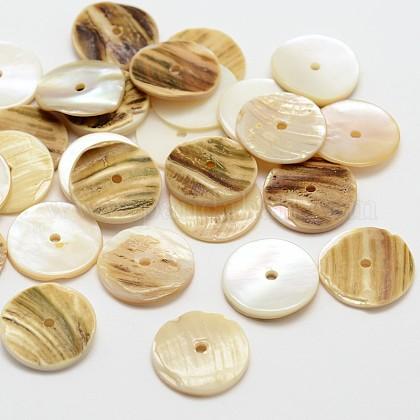 Flat Round Natural Akoya Shell BeadsSHEL-N034-13-1