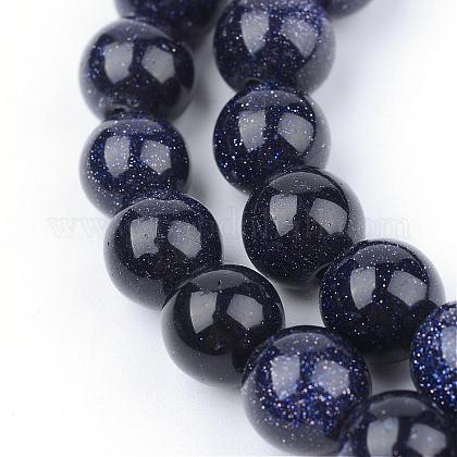 Chapelets de perles en pierre d'or bleue synthétiqueG-Q462-8mm-28-1