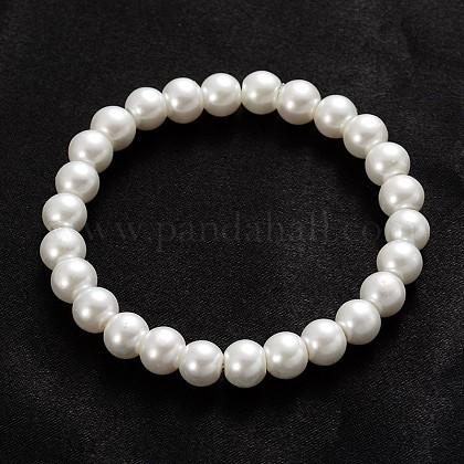 Trendy Glass Pearl Beaded Stretch BraceletsBJEW-PH00677-02-1
