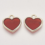 Epoxy Resin Pendants, with Light Gold Alloy Open Back Settings, Heart, Red, 16.5x16x2mm, Hole: 2mm