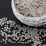 12/0 Electroplate Glass Seed Beads, Rondelle, Silver, 2x2mm, Hole: 0.5mm, 4000pcs/50g