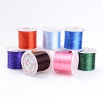 Flat Elastic Crystal String, Elastic Beading Thread, for Stretch Bracelet Making, Dyed, Mixed Color, 0.8mm, 11m/roll