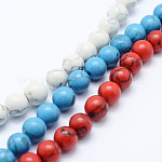Synthetic Howlite Bead Strand, Dyed, Round, Mixed Color, 8mm, Hole: 1mm; about 50pcs/strand, 15.7inches(40cm)