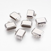CCB Plastic Cord Ends, Rectangle, Platinum, 16x18x7.5mm, Hole: 2mm; Inner: 15x4mm