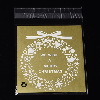 Rectangle OPP Cellophane Bags for Christmas, with Wreath Pattern, Goldenrod, 14x9.9cm; Unilateral Thickness: 0.035mm; Inner Measure: 11x9.9cm, about 95~100pcs/bag