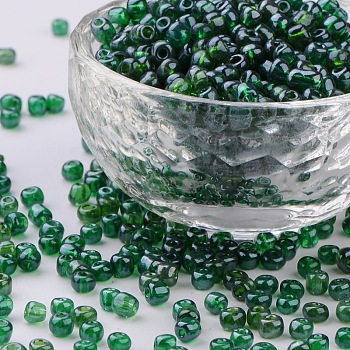 DarkGreen Glass Seed Beads, Trans. Colours Lustered, Round, DarkGreen, 4mm, Hole: 1.5mm; about 4500pcs/pound