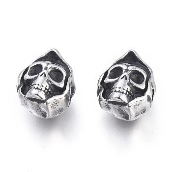 Бусы хэллоуин 304 из нержавеющей стали, череп головы, античное серебро, 13x10.5x9 мм, отверстие : 2 мм