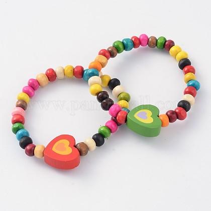 Niños pulseras pulseras elásticas de abalorios de maderaBJEW-JB02047-05-1