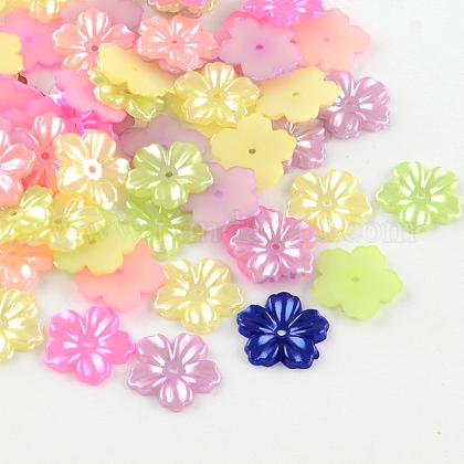5-pétalo tapas de cuentas de perlas de imitación de plástico absSACR-R862-M-1