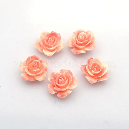 Rosa abalorios de resina de floresX-RESI-E005-02-14mm-1