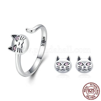 925 Sterling Silver Kitten Jewelry SetsSJEW-FF0002-08AS-1