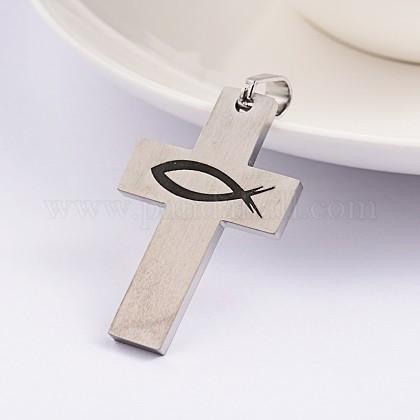 Kreuz mit Fisch 304 Edelstahl-Emaille-AnhängerSTAS-F016-13P-1