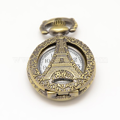 Talladas cabezas del reloj del cuarzo de la aleación de la torre Eiffel del vintage redondas plana hueco para reloj de bolsillo el collar del colganteWACH-M109-05-1