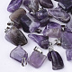 Natural Amethyst Pendants, with Stainless Steel Snap On Bails, Nuggets, 15~35x10~20x5~15mm, Hole: 3x7.5mm
