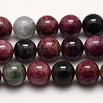 Natural Tourmaline Beads Strands, Round, 12mm, Hole: 1mm; about 34pcs/strand, 16.14