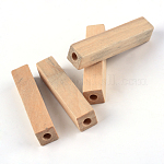 Unfinished Wood Beads, Natural Wooden Beads, Lead Free, Cuboid, 50x10~10.5x10~10.5mm, Hole: 4.5mm