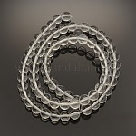Transparent Glass Round Beads, Clear, 8mm, Hole: 1mm; about 51pcs/strand, 15.3