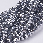 Electroplate Glass Beads Strands, Faceted, Rondelle, Silver Plated, 6x4mm, Hole: 1mm; about 95pcs/strand, 14