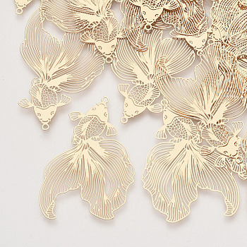 Brass Pendants, Etched Metal Embellishments, Goldfish, Light Gold, 49x30x0.3mm, Hole: 1.4mm