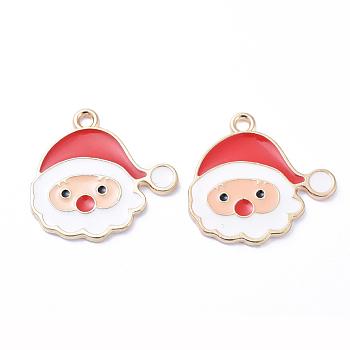 Plateados de oro colgantes de esmalte de aleación, para la Navidad, santa claus, blanco, 21x22x1.5mm, agujero: 1 mm