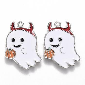 Подвески из сплава с эмалью на тему Хэллоуина, белый призрак с тыквенным фонарем, платина, 21.5x17x1.5 мм, отверстие : 1.6 мм