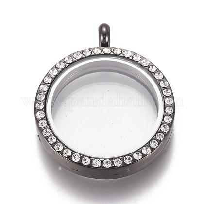 Colgantes de medallón magnético plano rhinestone de aleación redondaPALLOY-WH0069-01-B-1