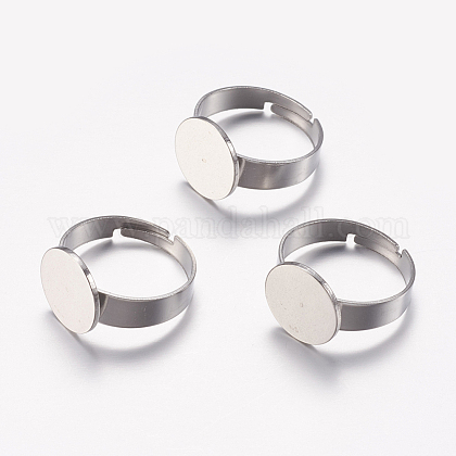 Adjustable 304 Stainless Steel Finger Rings Components STAS-F149-20P-1