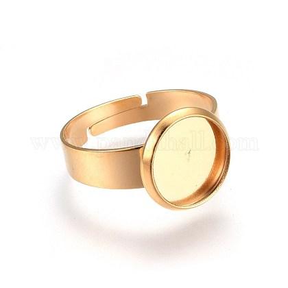 Adjustable 304 Stainless Steel Finger Rings ComponentsSTAS-G187-01G-10mm-1