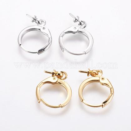 Brass Huggie Hoop Earring FindingsKK-L177-37-1