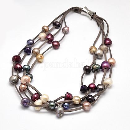 Collares de múltiples hilos de perlas de lujo para mujerNJEW-L345-N10-1