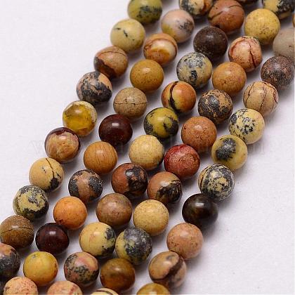 Cuentas de turquesas naturales hebras amarillasG-K146-02-3mm-1