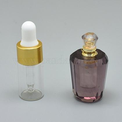 Colgantes de frascos de perfume abribles de amatista sintética facetadaG-E556-05A-1