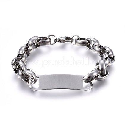 304 Stainless Steel ID BraceletBJEW-O168-05P-1