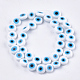 Hechos a mano de mal de ojo lampwork perlas hebrasX-LAMP-S191-02C-08-1