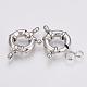 Cierres de anillo de resorte de latón, Platino, 11mm, agujero: 2.5 mm