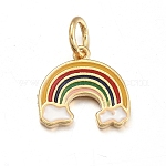 Brass Enamel Charms, with Jump Rings, Rainbow, Golden, 10.5x11x1mm, Hole: 3.6mm