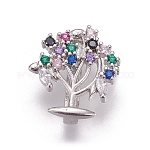 Brass Micro Pave Cubic Zirconia Slide Charms, Tree of Life, Colorful, Platinum, 14x13x5mm, Hole: 2x10.5mm
