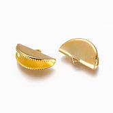 アイアン製カシメリボン止めエンドパーツ, ゴールドカラー, 12.5x20mm, 穴:2x3.5mm