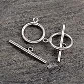 Platinum Plated Ring Sterling Silver Toggle Clasps, 15x12x1.7mm; 16x6x3mm, Hole: 2mm