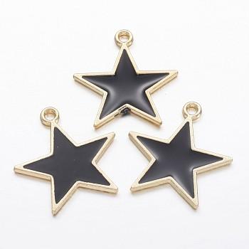 Pendente smaltati in lega, stella, oro, 20.5x19.5x1.5mm, Foro: 1.5 mm