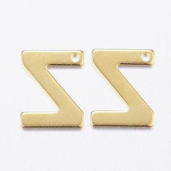 Encantos de 304 acero inoxidable, carta, encantos iniciales, letter.z, 11x6~12x0.8mm, agujero: 1 mm