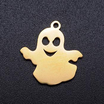 201 подвески из нержавеющей стали, призрак, Хэллоуин, золотые, 18x17x1 мм, отверстие : 1.5 мм