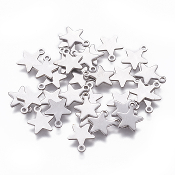 304 Stainless Steel Charms, Star, Stainless Steel Color, 10x8x0.8mm, Hole: 1mm
