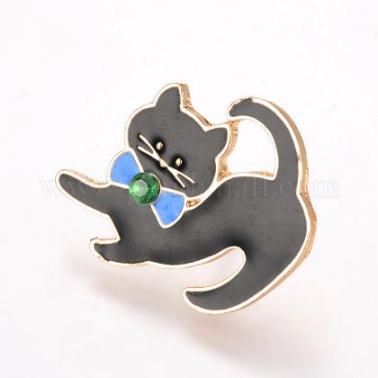 Broches de gatito de esmalte de aleaciónJEWB-Q026-85KC-1