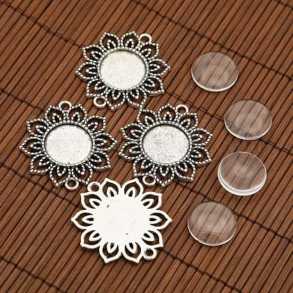 Tibétains fleur en alliage connecteur supports cabochons de la lunette et supports cabochons de verre transparent rondes platDIY-X0204-AS-1