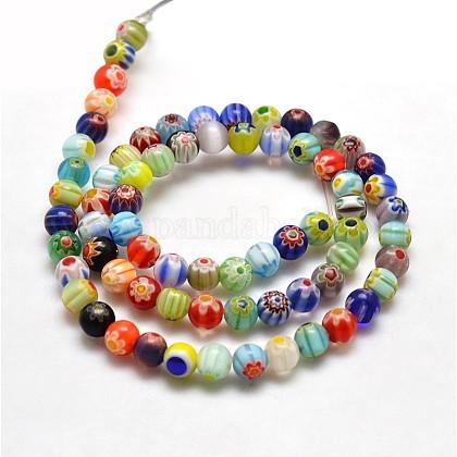 Redondas hebras de abalorios de vidrio millefioriLK-P001-21-1