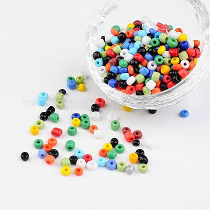 6/0 Opaque Colours Round Glass Seed Beads X-SEED-A010-4mm-51-1