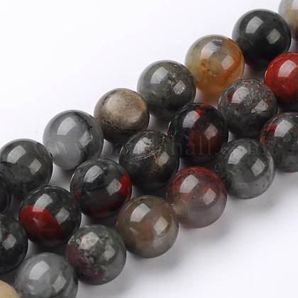 Naturales africanos abalorios bloodstone hebras G-L383-06-4mm-1