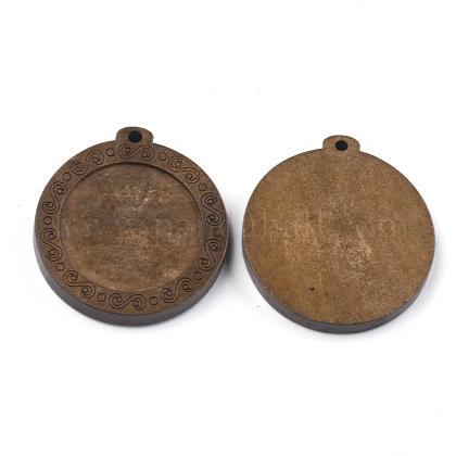 Wooden Pendant Cabochon SettingsWOOD-S044-09D-1