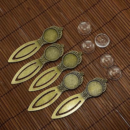 18 mm couvercle bombé cabochon de verre clair pour création de marque page bronze antique portrait bricolage en alliage DIY-X0117-AB-FF-1